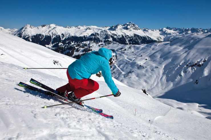 Skifahren, Montafon, Gargellen, Vorarlberg, Österreich