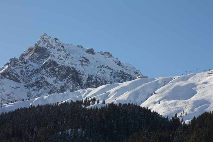 Skifahren am Schafberg, Gargellen, Montafon, Österreich