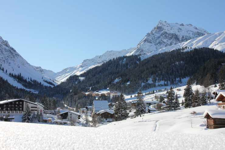 Schneedorf Gargellen, Montafon, Vorarlberg, Österreich