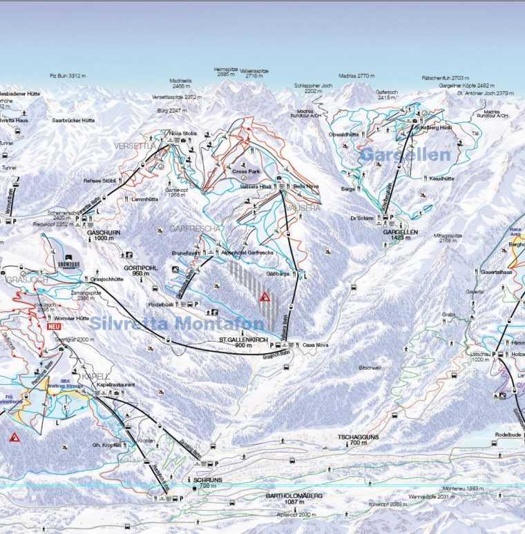 Pistenplan, Liftplan im Skigebiet Gargellen und Montafon, Vorarlberg