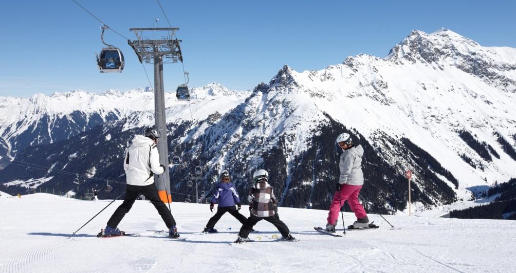 Skiing area Montafon, Gargellen, Vorarlberg, Austria