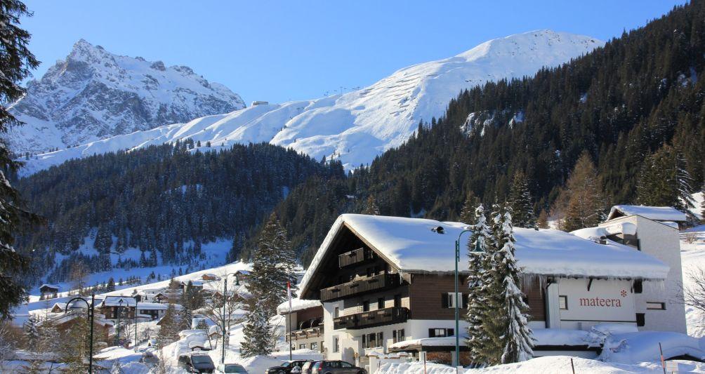Winteransicht vom Familienhotel Mateera in Gargellen